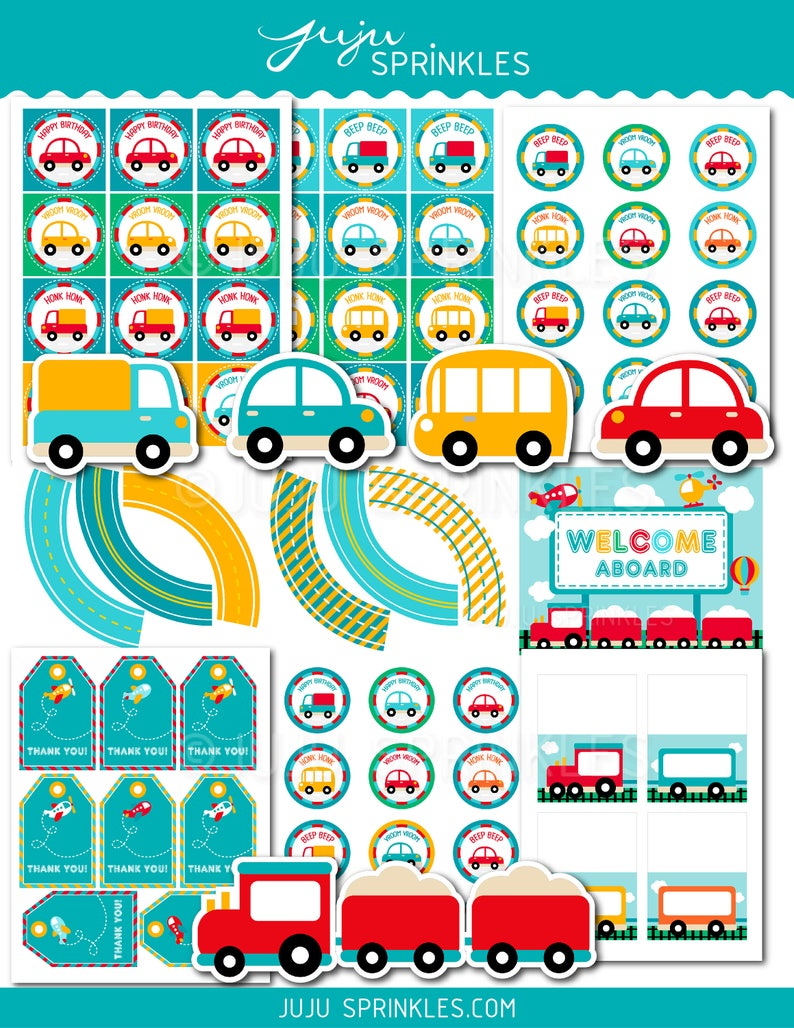 Transportation Party Decoration Car Cupcake Toppers Car image 0