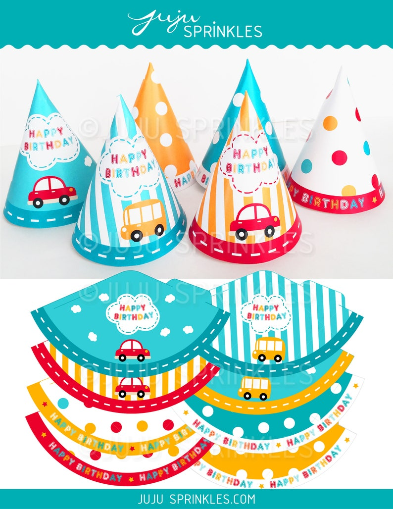 Transportation Birthday Party Hats Car Party Hats Mini image 0