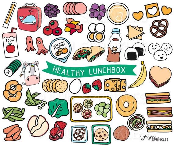 Lunchbox Clipart gesundes Mittagessen Clipart Kinder | Etsy