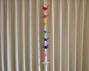 Large Rainbow Origami Crane Chain