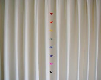 Small Rainbow Origami Crane Chain