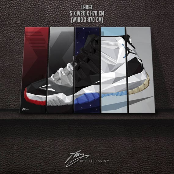 new concept 5315d 8981f ... Nike Air Jordan Poster  AIR JORDAN XI 11 collection Canvas wall decor  print Etsy ...
