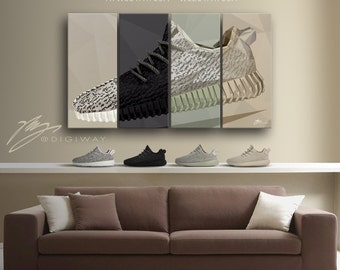 YEEZY BOOST 350 collection 2015 - Canvas, wall decor, print, framed poster, gift, sneaker, kicks, fashion
