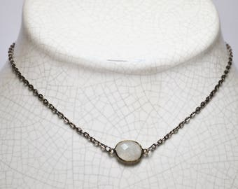 quartz moonstone gunmetal chain necklace
