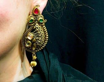 Kundan Earrings, Indian Earrings, Indian Jewelry, Indian Wedding Jewelry, Indian Bridal Jewelry, Red Kundan, Green Kundan, Paisley Earrings
