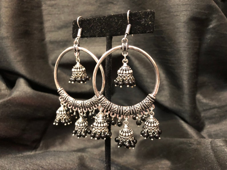 34cf379ef Indian Jewelry Silver Jhumka Hoops Black Beads Silver | Etsy