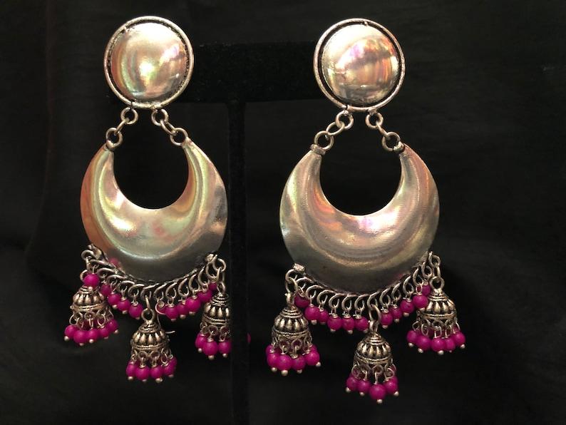 d68b88605 Indian Jewelry Silver Chandbali Hoop Earrings Silver Jhumka | Etsy