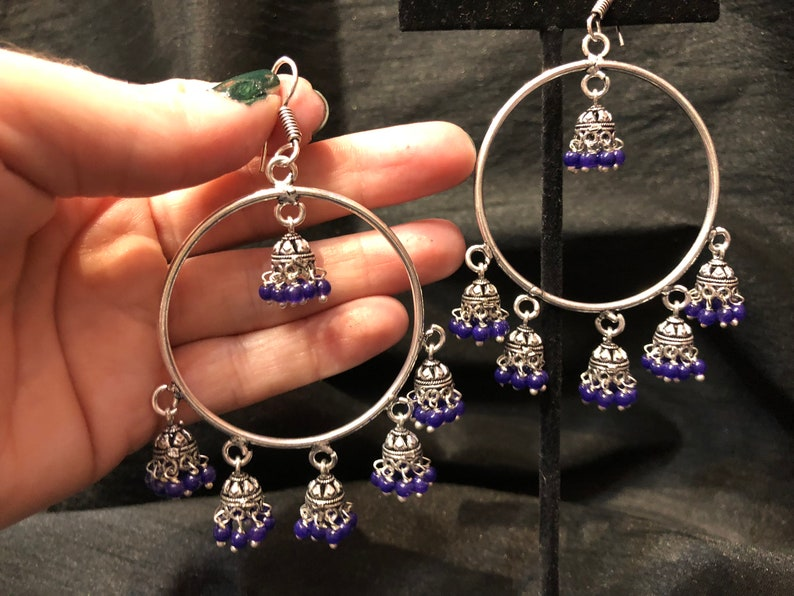3cc09009f Indian Jewelry Silver Jhumka Hoops Blue Beads Silver Tribal | Etsy