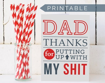 Printable Fathers Day Card - Thank You Dad