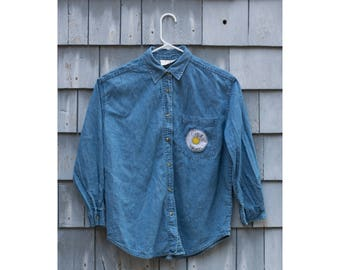 Rise & Shine embroidered denim button-down (women's small)