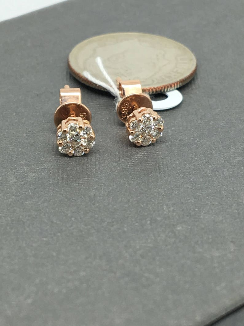ae4c837c10499 14K Rose Gold Natural Genuine Diamond Cluster Stud Earrings