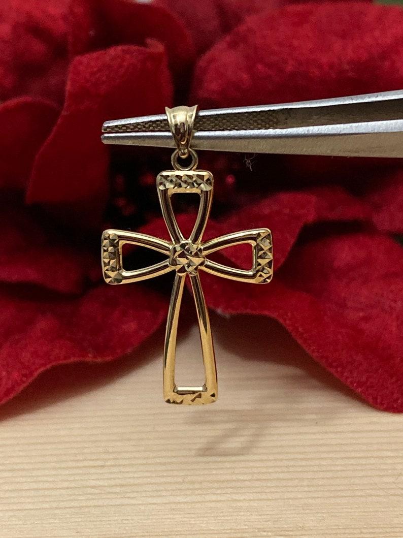 14K Yellow Gold Open Cross Pendant