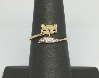 14K Yellow Gold CZ Fox Ring