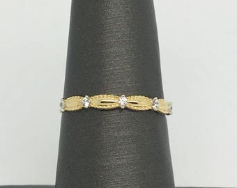14K Yellow Gold Thin CZ Stackable Ring/ Band