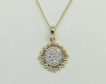 14K Two Tone Gold Natural Diamond Pendant