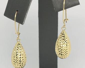 14K Yellow Gold Diamond Cut Pear Shape Dangling Earrings