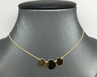 14K Yellow Gold 3 Plain Circles Necklace