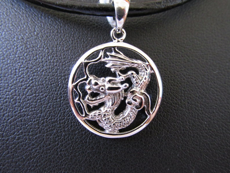 18K White Gold Over Sterling Silver Round Dragon Pendant
