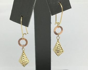 14K Two Tone  Gold Diamond Cut Dangling Earrings