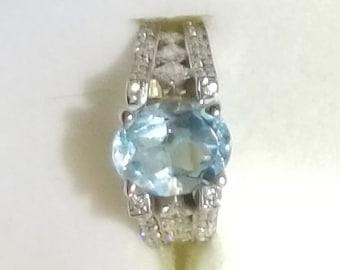 3CT Aquamarine and Diamond Ring in 18KWG