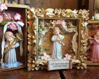 Musical Wall Angels Trio Let Heaven and Nature Sing Shadowbox Art