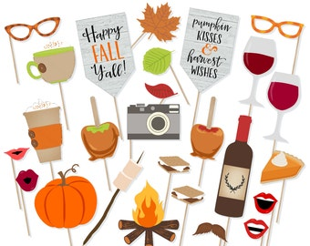 printable fall wedding photo booth props instant download etsy