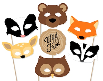 Printable Forest Animals Photo Booth Props - Camping Photo Booth Props -  Camping Photobooth - Woodland Animals Birthday - Birthday Props e74af6fcc3f4