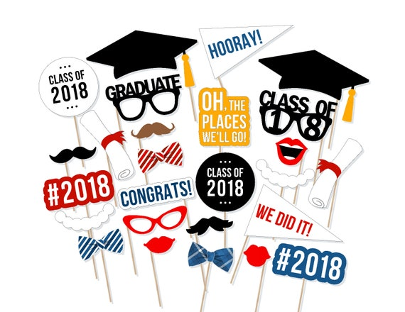 image regarding Printable Graduation Photo Booth Props known as 2018 Commencement Image Booth Props - Cl of 2018 Image Booth Props - 2018 Commencement Photobooth - Printable Commencement Props