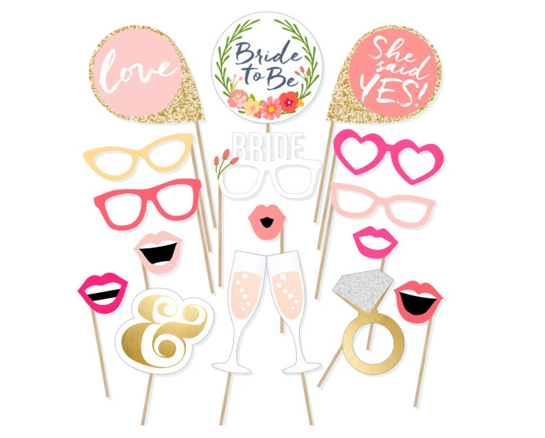 picture regarding Photo Props Printable called Printable Bridal Shower Photograph Booth Props - Bride Photobooth Props - Bachelorette Printable Props - Bachelorette Social gathering - Blush Gold Crimson Established