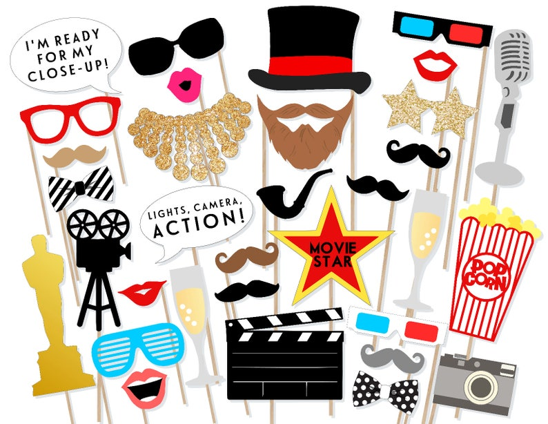 photo regarding Photo Props Printable identify Oscar Awards Bash Printable Image Props - Video clip Awards Picture Booth Props - Online video Photobooth Props - Oscars Awards Evening