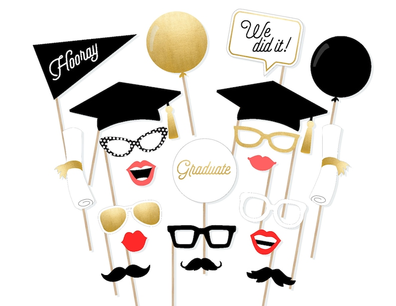 photograph about Printable Graduation Photo Booth Props named 2018 Commencement Image Booth Props - Cl of 2018 Image Booth Props - 2018 Commencement Photobooth - Printable Commencement Props