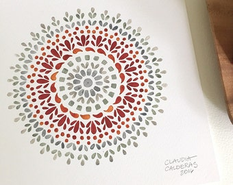 Red and grey watercolor mandala print