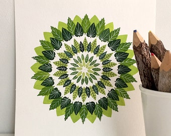 Green Leaves Mandala