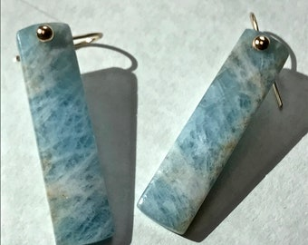 Aquamarine and 14K Gold Earrings