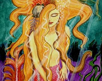 "Giclee Art Print - ""Sanibel Siren"", Mermaid Beneath the Sea, Blond, Pink, Aqua, Purple, Green"