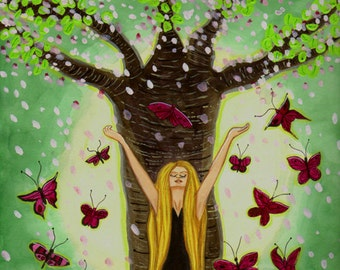 """Witch Art - """"Springxhilaration"""" - Giclee Art Print, 8.5"""" X 11"""" by Carol Ochs"""