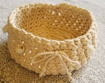 Cream-Colored Hand Crocheted Cotton Basket Adorned with White Seashells 8 inches wide