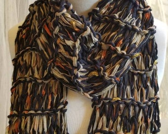 Hand Knit Black Forest Ribbon and Cotton Yarn Scarf, Extra Long - Black Olive Green Orange Gold