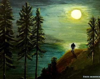 Nocturnal Creature - Bigfoot Sasquatch Art