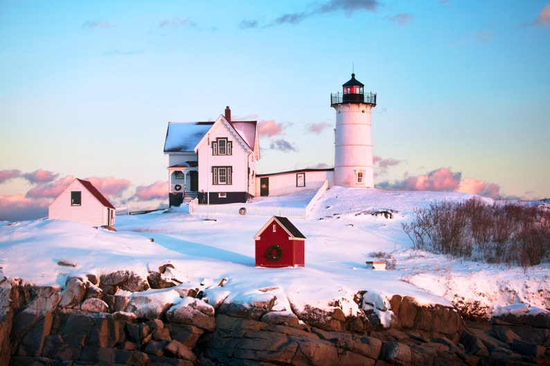 Excellent Fine Art Print Nubble Lighthouse Winter Maine Seacoast Photography Cape Neddick Snow New England Nautical Home Decor Download Free Architecture Designs Scobabritishbridgeorg