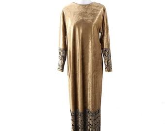 1970's Ruth Norman Long Sleeve Hostess Dress/Caftan Gold Velvet Black Burnout Border SMALL