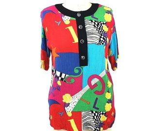 Carole Little Crinkle Rayon Popover Size 14 Top Short Sleeve Abstract VTG 90s