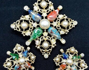 """Sarah Coventry """"Galaxy"""" Demi Parure Brooch and Earring Set Maltese Cross"""