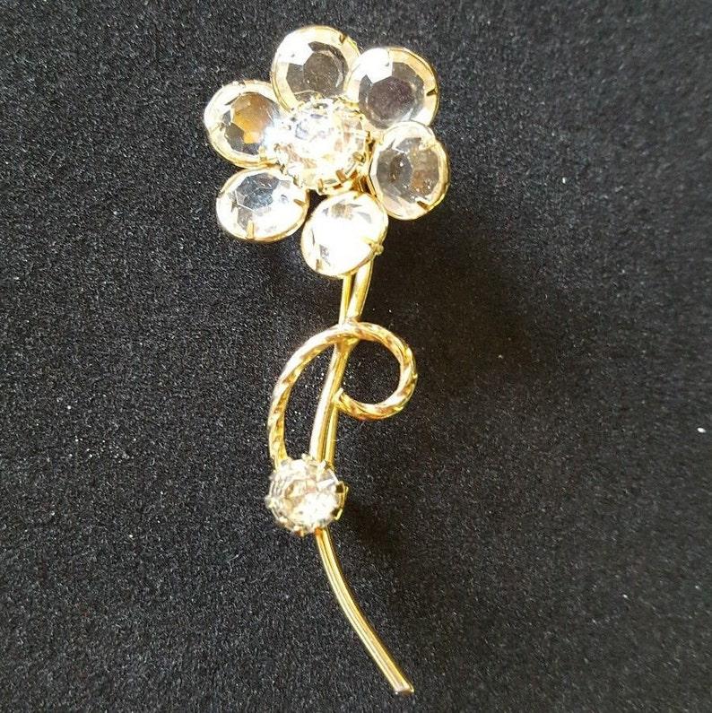 Vintage Unsigned Crystal Flower Pin Open Back Setting Rhinestone Gold Tone Stem