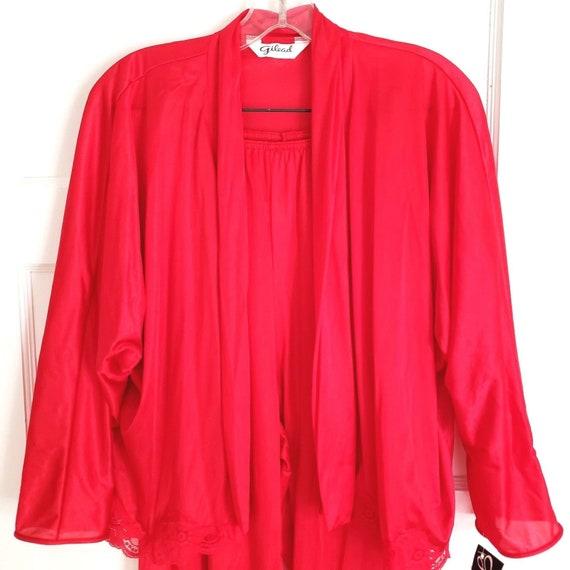 Gilead Red Nylon Lace Pajama Set Petite Open Front