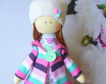 collectible dolls, ballerina Doll, Textile doll, decorative doll, doll cotton, rag doll, Fabric doll, Tilda doll, cute angel, baby doll,