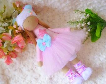 ballerina Doll, handmade fabric doll, Textile doll, Soft toy, Cloth doll, baby doll, ragdoll, nursery decor, art doll, tilda doll, doll,