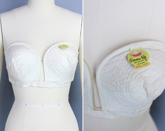 Famous Maid All White Cotton 42B Bullet Cage Bra Lingerie Under Garment Burlesque 1940\u2019s Pin Up Betty Page Jane Russell Marilyn Retro Hip