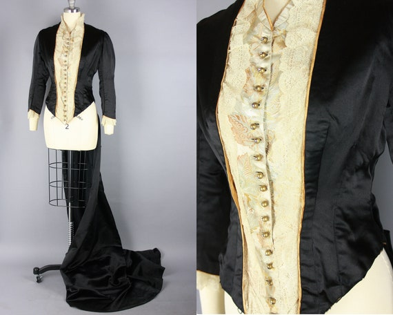 1880s 'City of Paris' Bodice with Bustled Train  