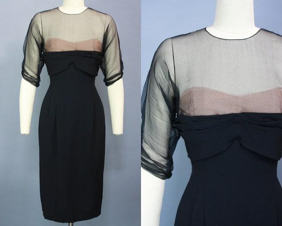 1950s PEGGY HUNT Dress | Vintage 50s Nude Sweethea